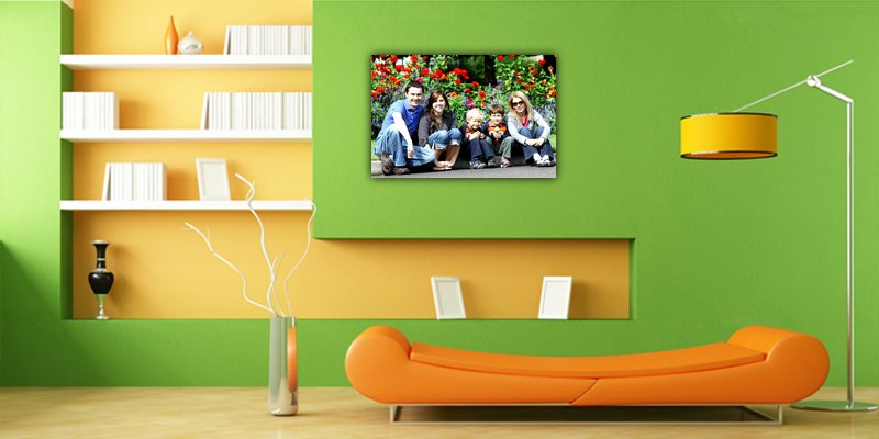 family photo on canvas in green lounge