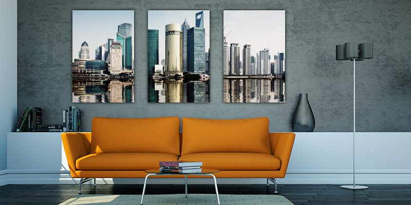 Split canvas print of city