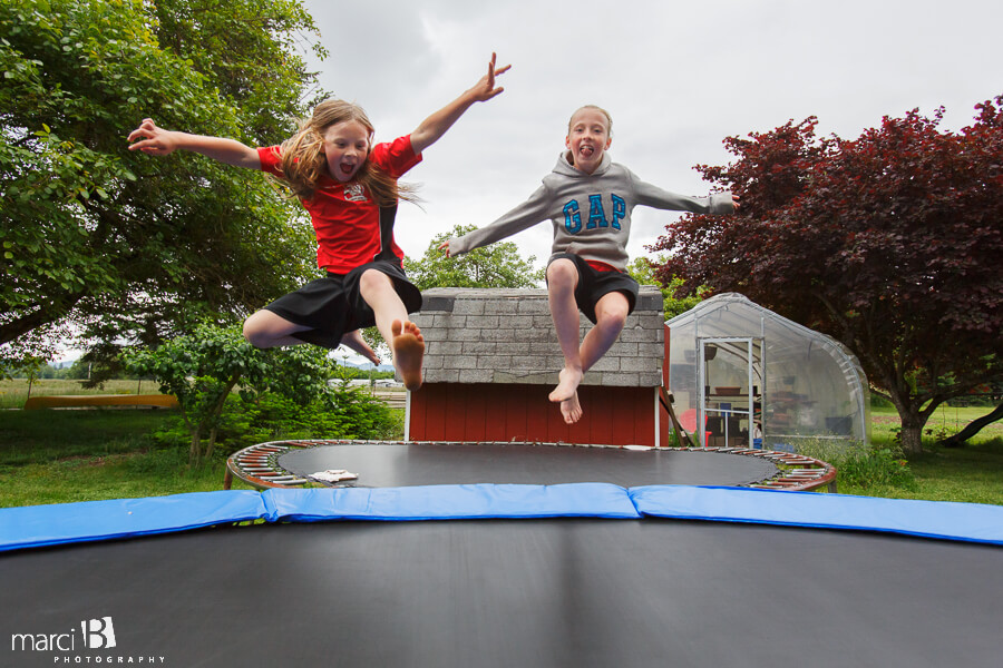 kids in action on trampoline