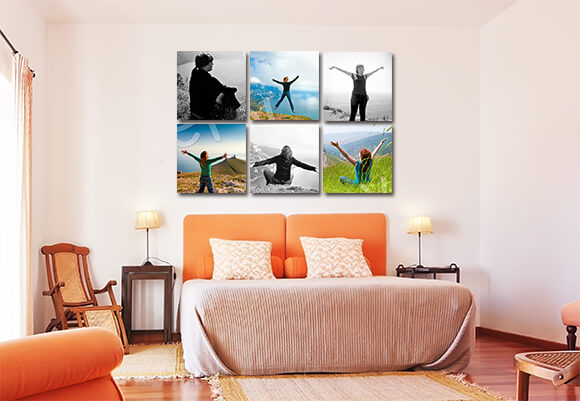 Mix Black and White Photographs with Colorful Canvases in a Grid