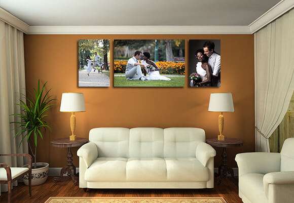 Canvases Of Varying Sizes With Wedding Photographs On Canvas Gallery Prints