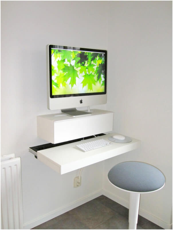 a compact floating work desk