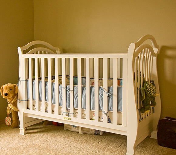 wooden cot made for the baby