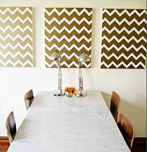 DIY Gold Chevron Painting