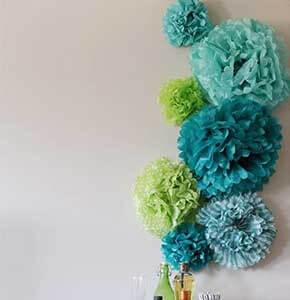 DIY Tissue Paper Pom Poms Backdrop